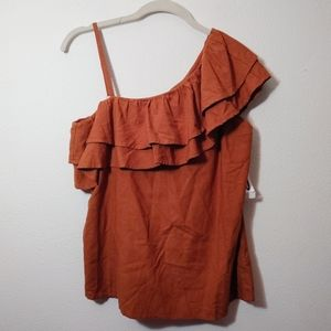 Old Navy Burnt Orange One Side Ruffle Tank Top NEW